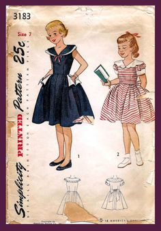 Simplicity 3183 Vintage Sewing Pattern Girls Party Dress Full Skirt Dress One Piece Dress Size 7 Vintage Dress Patterns, Vintage Dresses, Vintage Outfits, Vintage Fashion, 1950s Dresses, 1950s Fashion, Vintage Clothing, Girls Party Dress, Girls Dresses