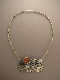 Sunset  2007    necklace  sterling silver, 14 k gold, cat's-eye  pendant is 3 1/2 x 2 1/8 in., neck wire is 18 in. - Ahlene Welsh  -Neckwire! clasp on side
