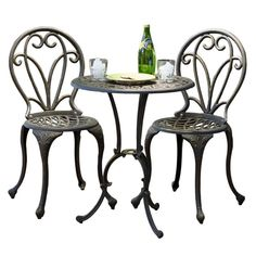 NEW! Cast Iron Bistro Patio Set Outdoor Table Chairs Furniture Sets 3 pc Metal