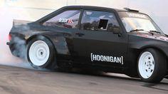 Ken Block Slays Tires in the Gymkhana Escort at the Donut Garage  http://blog.hoonigan.com/gymkhana-escort/