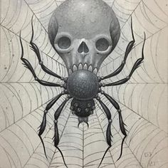 HAPPY HALLOWEEN!!! Here's a little 5x7 acrylic and graphite jam from my sketchbook. It's heading off to it's new home in Bellingham. Thanks @gorgeous_tattoo  #lordego1 #ego #egoart #acrylicpainting #acrylicpaint #acrylic #spiderskull #spider #skull #spooky