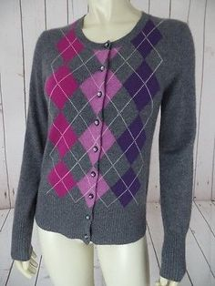 APT 9 Sweater S Gray Heather Cashmere Argyle Cardigan Purples Magenta SOFT CHIC!
