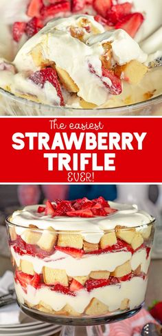 Strawberry Trifle Recipe: The sweet strawberries, creamy pudding and pound cake really come together and scream deliciousness in this super easy strawberry trifle recipe. Desserts Easy Strawberry Trifle with Pound Cake Mini Desserts, Easy Desserts, Christmas Desserts, Fruit Trifle Desserts, Angel Food Cake Trifle, East Dessert Recipes, Dessert Trifles, Christmas Trifle, Oreo Desserts