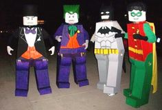 think i got the kids to do something other then plain spiderman, iron man and batman for halloween for th yr in a row. Coolest Homemade Lego Batman, Robin, Joker and Penguin Costumes Lego Halloween, Group Halloween Costumes, Halloween Projects, Halloween Cosplay, Fall Halloween, Haunted Halloween, Group Costumes, Lego Costume, Batman Costumes