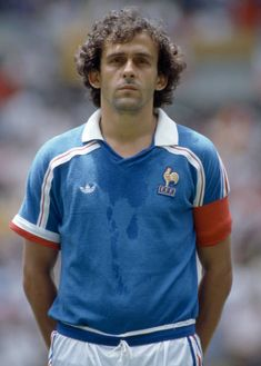 Michel Platini of France lines up prior to the FIFA World Cup quarter final between France and Brazil at the Estadio Jalisco in Guadalajara June. Michel Platini, Best Football Players, Football Is Life, Football Team, Famous Sports, Most Popular Sports, Classic Football Shirts, Retro Football, Premier League