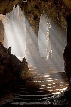 Petra, Jordan. Light rays in the caves.