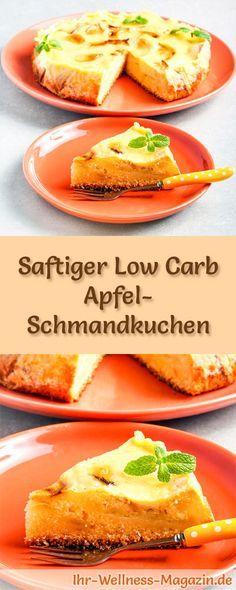 Rezept für einen saftigen Low Carb Apfel-Schmandkuchen - kohlenhydratarm, kalorienreduziert, ohne Zucker und Getreidemehl