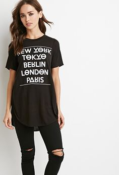 Cities Graphic High-Slit Tee | Forever 21 - 2002247451