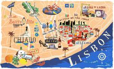 Illustrated map of Lisbon Sintra Portugal, Spain And Portugal, Portugal Travel, Spain Travel, Album Photo Voyage, Lisbon Map, Plan Ville, Country Maps, Travel Illustration