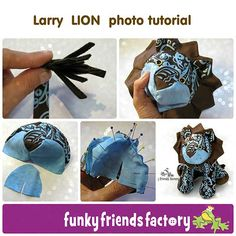 Larry LION Sewing Pattern photo tutorial | Toy pattern designed by Pauline McArthur Funky Friends Factory