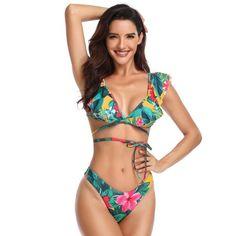 bdeb544d4a Juniors' Swimsuit Celebrity Naughty Wireless Flower Print Deep V-Neck  Bikini (multicolor,