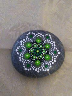 Mandala Stone hand painted - Heart Chakra