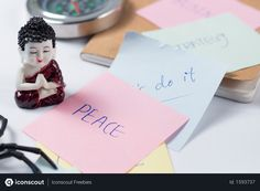Free Buddha and motivational word written sticky notes on desk Photo Business Photos, Motivational Words, Sticky Notes, Buddha, Photoshop, Gift Wrapping, Desk, Writing, Free