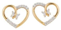 Nice symbol of love -  Heart shape diamond earring. Diamonds are set in proper place that gives good look to earring. As diamonds are set in opposite side it gives feel of diamonds are used more then what they are. Even adding 4 diamonds in center completes the whole design & completes Butterfly look...... 4 Diamonds, Heart Shaped Diamond, Love Symbols, Love Heart, Indian Jewelry, Heart Shapes, Our Wedding, Diamond Earrings, Gold Rings