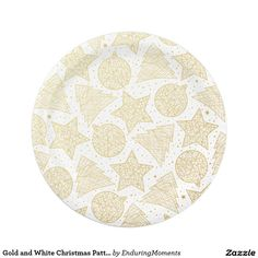 Gold and White Christmas Pattern Paper Plates