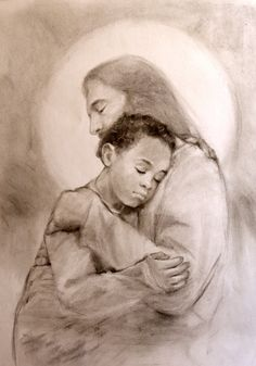 Jesus Holding a Little Boy by ChristianArtPainting on Etsy
