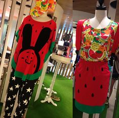 Hong Kong's Izzue / I.T store, my favorite streetwear boutique! See the amazing fashion photos: http://www.lacarmina.com/blog/2013/08/hong-kong-designer-clothes-shops-miffy-store-izzue/  watermelon skirt, fruit top, street style harajuku