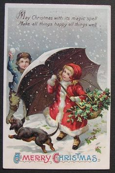 IAP Boy Throws Snowball at Cute Girl Red Coat w/ Umbrella Dog Daschund Christmas #Christmas