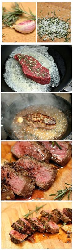 Recipe For Rosemary Garlic Butter Steaks - You've got to try this recipe if you are a steak lover!Recipe For Rosemary Garlic Butter Steaks - You've got to try this recipe if you are a steak lover! Beef Recipes, Cooking Recipes, Healthy Recipes, Recipies, Beef Meals, Rump Steak Recipes, Steak Dinner Recipes, Easy Cooking, Appetizer Recipes