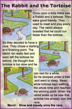 rabbit and tortoise story in english pdf साठी इमेज परिणाम Stories With Moral Lessons, English Moral Stories, Short Moral Stories, English Stories For Kids, Moral Stories For Kids, English Lessons For Kids, English Worksheets For Kids, Short Stories For Kids, English Story