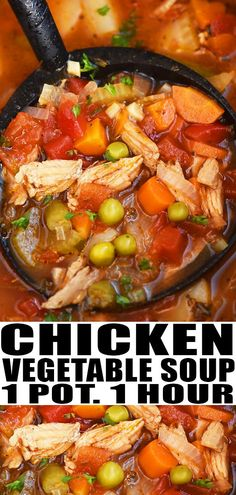 CHICKEN VEGETABLE SOUP RECIPE Quick easy best hearty homemade with simple ingredients on stovetop This one pot meal is healthy low carb loaded with tomatoes Italian seaso. Vegetable Soup With Chicken, Vegetable Soup Recipes, Chicken Soup Recipes, Easy Soup Recipes, Healthy Recipes, Chicken And Vegetables, Cooking Recipes, Recipes Dinner, Recipes With Rotisserie Chicken