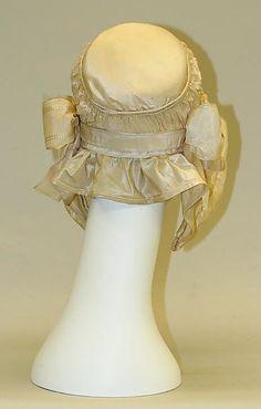 1840-59 Bonnet, American, silk, back view