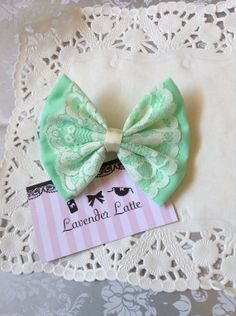 Pastel Mint Green Medium Hair Bow with White by LavenderLatteShop, $5.00