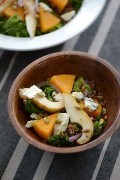 kale salad with quinoa, butternut squash and blue cheese via M Loves M @marmar