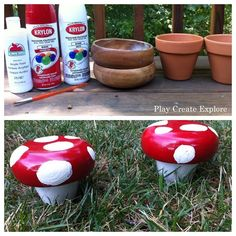 DIY crafts a Whimsical Mushroom with a Bowl and Terra Cotta Pot