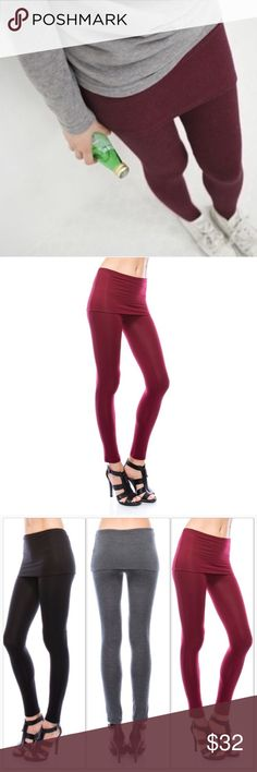 Burgundy Skirted Leggings 🆕 Burgundy, solid skirt with legging. Great for layering. Very comfortable and versatile leggings. Available in black, burgundy and charcoal gray.   95% Rayon 5% Spandex  Very stretchy. Pants Leggings