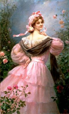 Vintage Women with pink dress = Emile Vernon