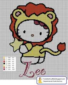 Punto De Cruz: Horóscopo Leo De Hello Kitty