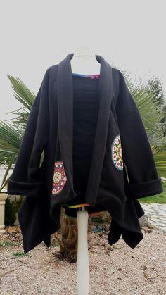 Veste asymétrique de créateur polaire noire : Manteau, Blouson, veste par…