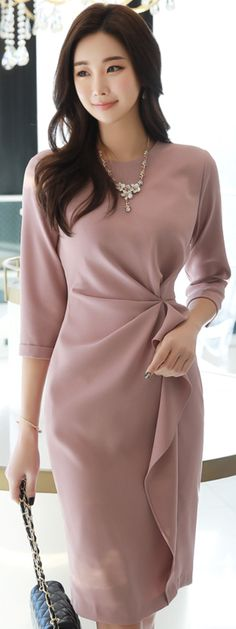 StyleOnme_Feminine Shirred Waistline Dress #pink #feminine #dress #koreanfashion #kstyle #kfashion #seoul #springlook