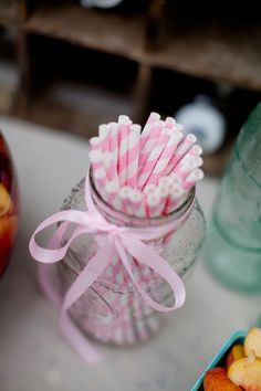 straws in mason jar