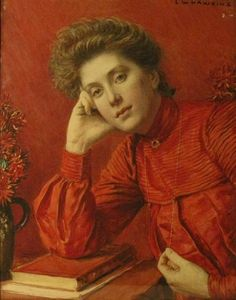 ■ HAWKINS, Louis Welden (French, 1849-1910) - Portrait of a Woman in Red. Watercolor on paper 57.15 × 45.72 cm ■  Луис Велден Хоукинс - Портрет женщины в красном