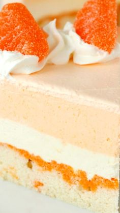 Orange Creamsicle Ice Cream Cake ~ Light, fruity and just like eating an orange creamsicle in ice cream cake form!