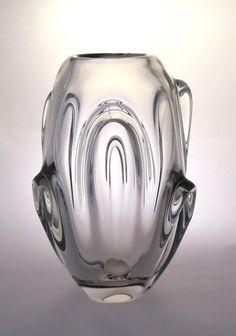 ON SALE Jan Broz Skrdlovice 5344 clear lobed vase -- Czech art glass.