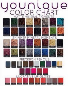 All the different colours that Younique do for matt/shimmer mineral pigments, precision pencils & Lucrative lip gloss (colour/color chart) 3d Fiber Lashes, 3d Fiber Lash Mascara, Mascara Tips, Lucrative Lip Gloss, Foundation, Eyeliner, Eyeshadow, Younique Presenter, Pigment Coloring