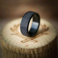 Black Zircnonium Wedding Band, Men's Wood Ring, Wood Wedding Ring For Men, Knurled Wedding Ring, Handcrafted By Staghead Designs #BridalAccessories