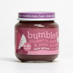 Bumbles™ Baby Food Blueberry, Apple and Pear with Quinoa on bumbles.co.za Apple 6, Gerber Baby, Baby Food Recipes, Nutella, Quinoa, Pear, Blueberry, Pure Products, Healthy