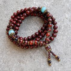 108 bead yoga mala necklace or bracelet, rosewood prayer beads, genuine Tiger's eye gemstone, and faceted Amazonite marker beads on Etsy, $89.00