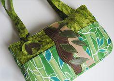 sac à main en coton les feuilles verts - sac à main - yoshivivik - Fait Maison