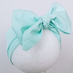 Stylish Big Bow Baby Headwrap // Baby Head Scarf // Mint // Top Knot // Cotton Head Wrap // Photo Prop by miBabyBoutiqueShop on Etsy