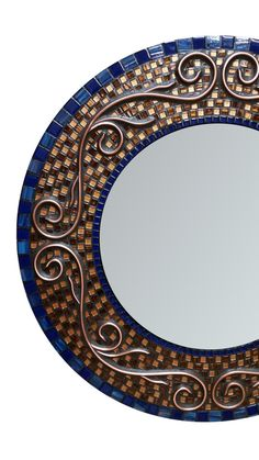 In Stock  Blue Gold Mosaic Mirror With Copper by RoxannesMirrors
