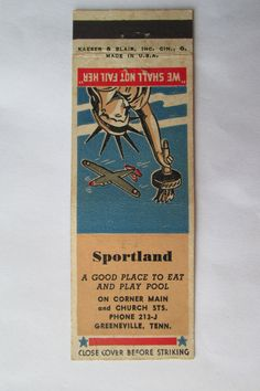 Sportland - Greeneville, Tennessee Sports Billiards Pool 20 FS Matchbook Cover