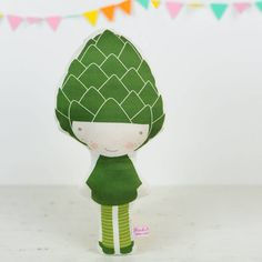 Artichoque doll in green for kids play  - by PinkNounou