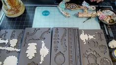 IOD by Prima silicone molds for beautifully dimensional vintagey baroque goodies to embellish your décor and craft projects. AND they play well with so many . Diy Plaster, Plaster Molds, Iron Orchid Designs, Paperclay, Air Dry Clay, Tampons, Mold Making, Resin Crafts, Clay Projects