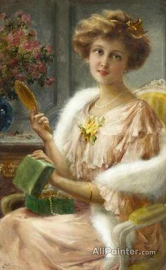 View A young lady with a mirror by Emile Vernon on artnet. Browse upcoming and past auction lots by Emile Vernon. Victorian Paintings, Victorian Art, Victorian Women, Vintage Prints, Vintage Art, Vintage Ladies, Vintage Beauty, Vintage Postcards, Vintage Images