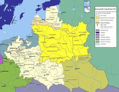 """Rzeczpospolita Trojga Narodów wedle postanowień """"ugody hadziackiej"""" z 1658 roku: na biało Królestwo Polskie, na żółto Wielkie Księstwo Litewskie, na brązowo Księstwo Ruskie, w biało-brązowe Księstwo Kurlandii i Semigalii"""